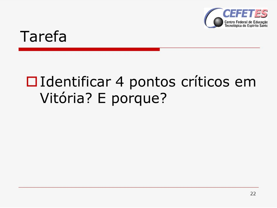 Tarefa Identificar 4 pontos críticos em Vitória E porque