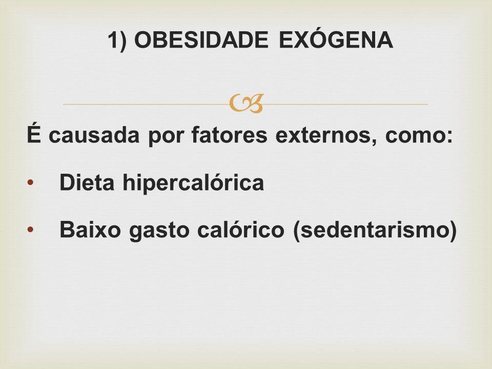 1) OBESIDADE EXÓGENA É causada por fatores externos, como: Dieta hipercalórica.
