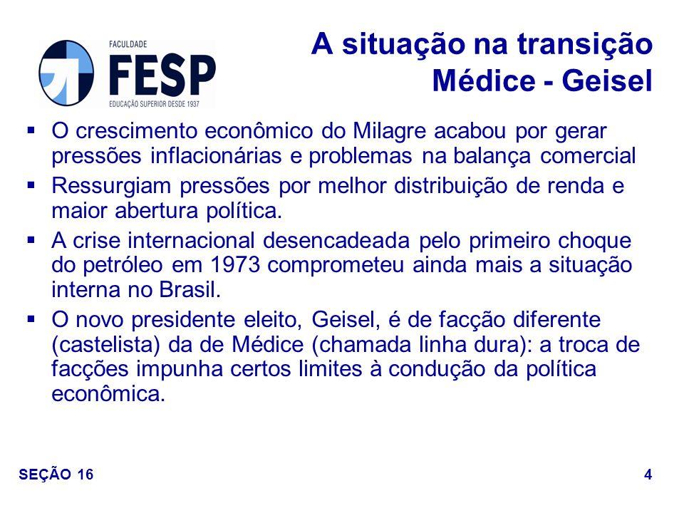 A situação na transição Médice - Geisel