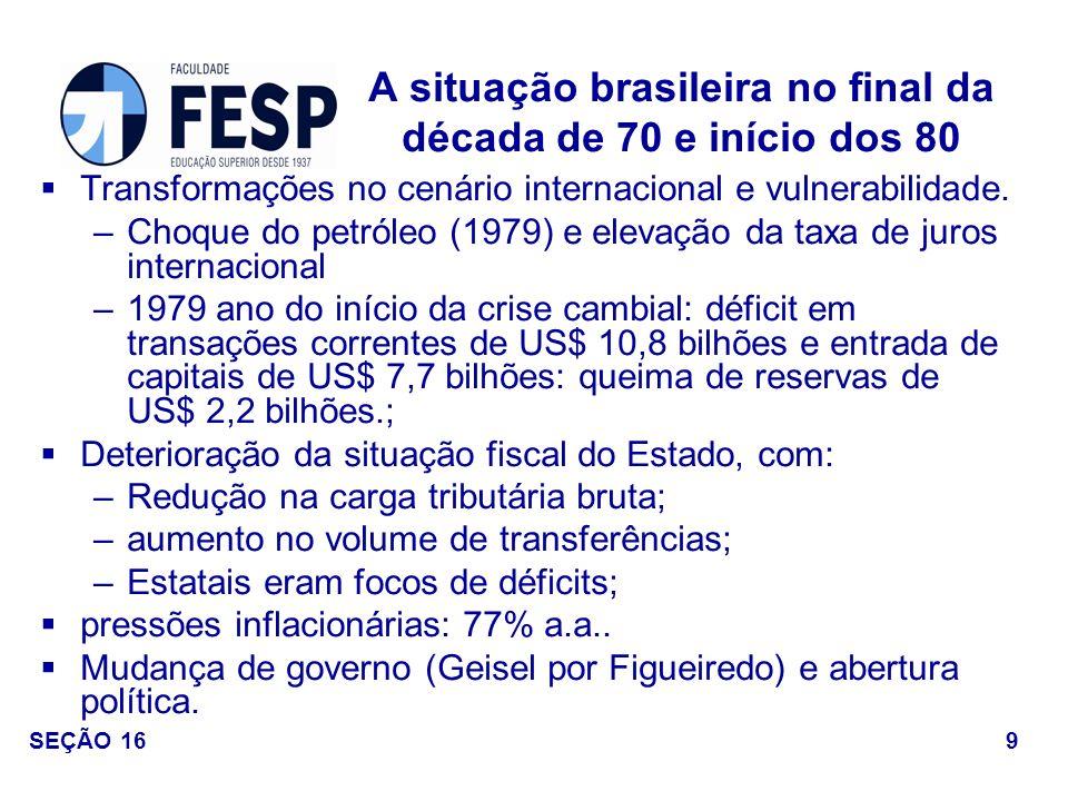 A situação brasileira no final da década de 70 e início dos 80