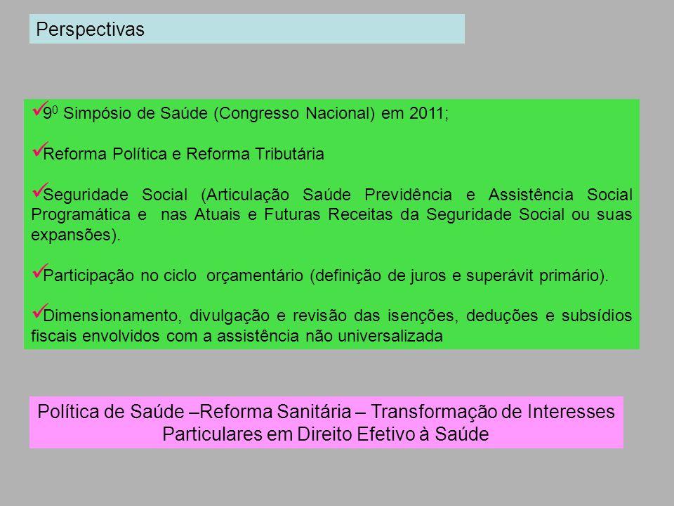 Perspectivas 90 Simpósio de Saúde (Congresso Nacional) em 2011; Reforma Política e Reforma Tributária.