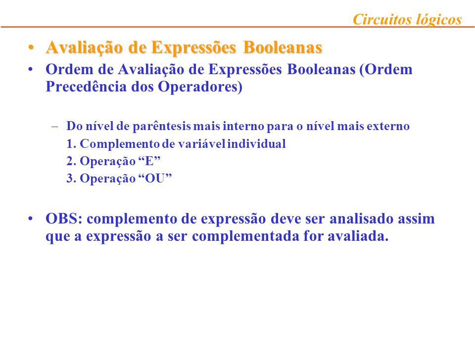 Avaliação de Expressões Booleanas