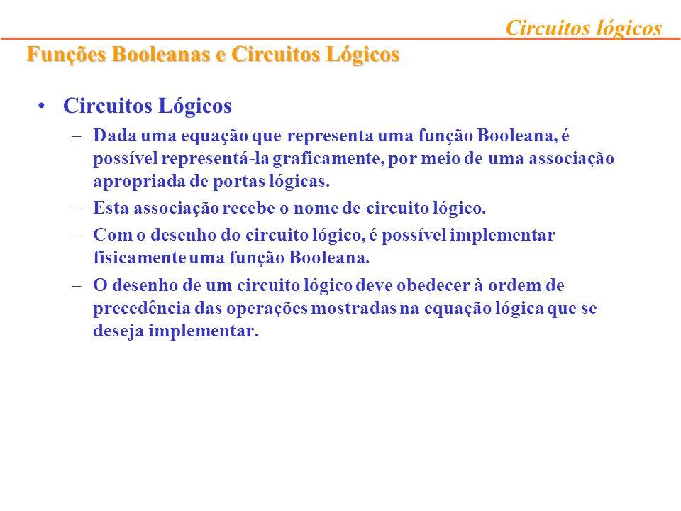 Funções Booleanas e Circuitos Lógicos Circuitos Lógicos