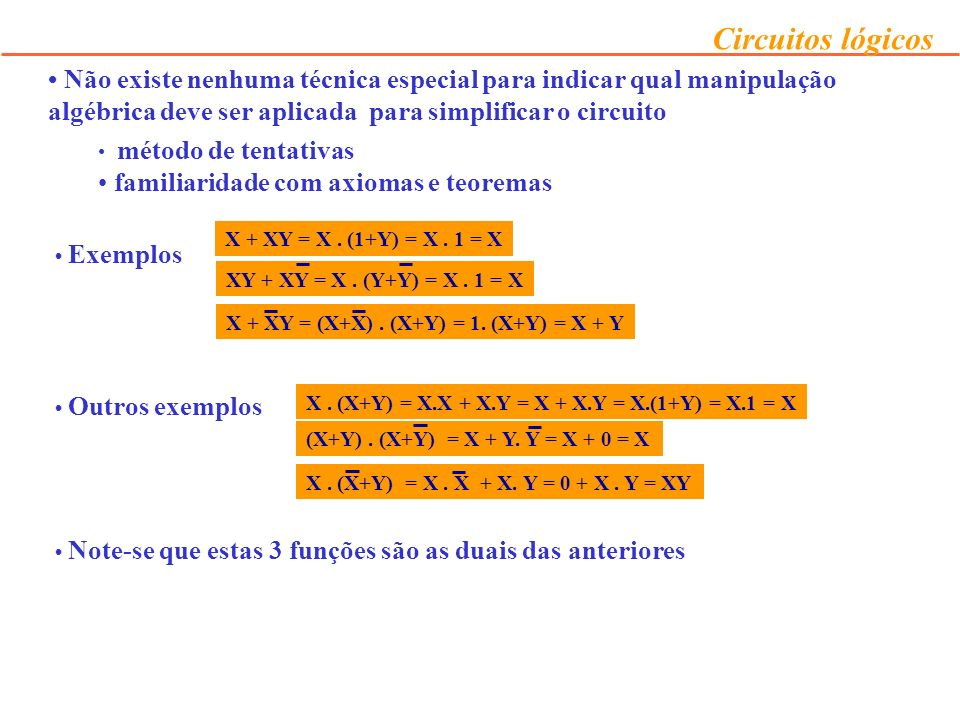 familiaridade com axiomas e teoremas