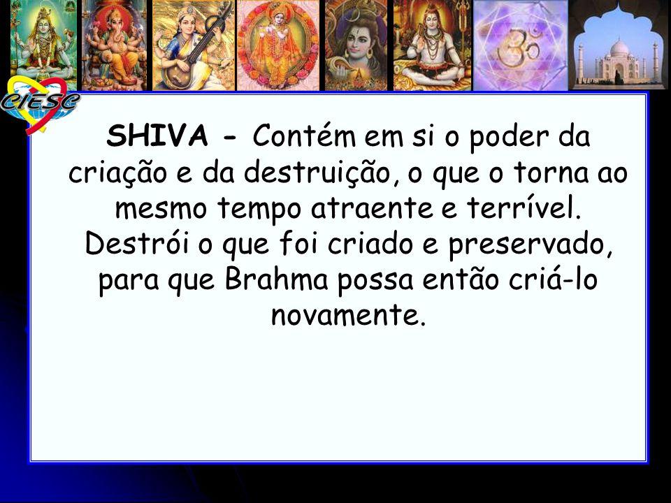 SHIVA - Contém em si o poder da criação e da destruição, o que o torna ao mesmo tempo atraente e terrível.