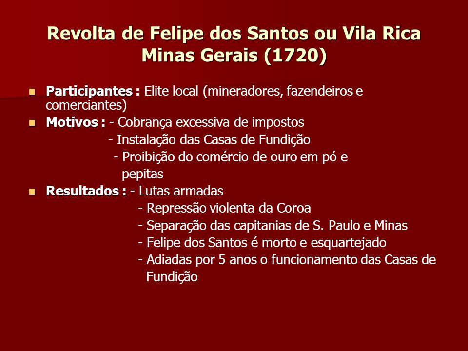Revolta de Felipe dos Santos ou Vila Rica Minas Gerais (1720)