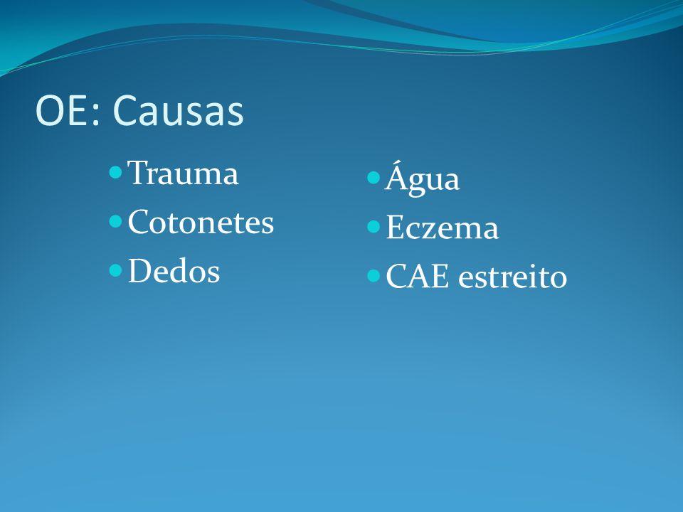 OE: Causas Trauma Água Cotonetes Eczema Dedos CAE estreito