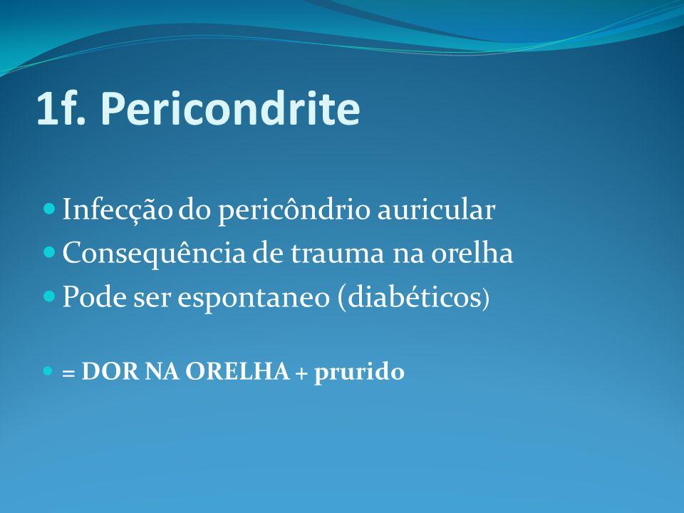 1f. Pericondrite Infecção do pericôndrio auricular
