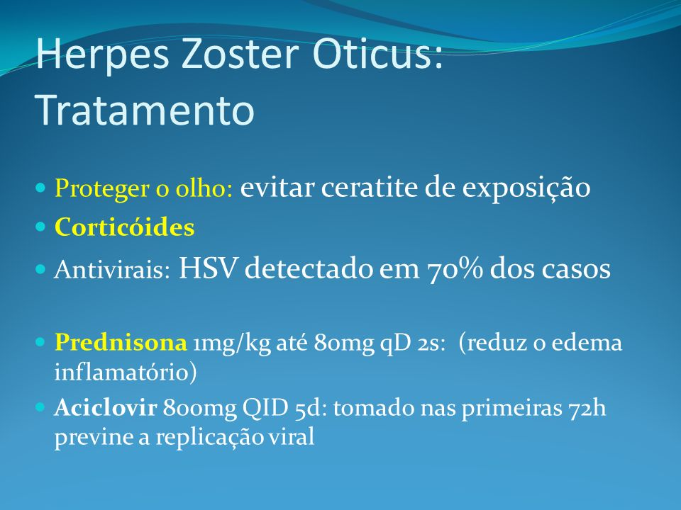Herpes Zoster Oticus: Tratamento
