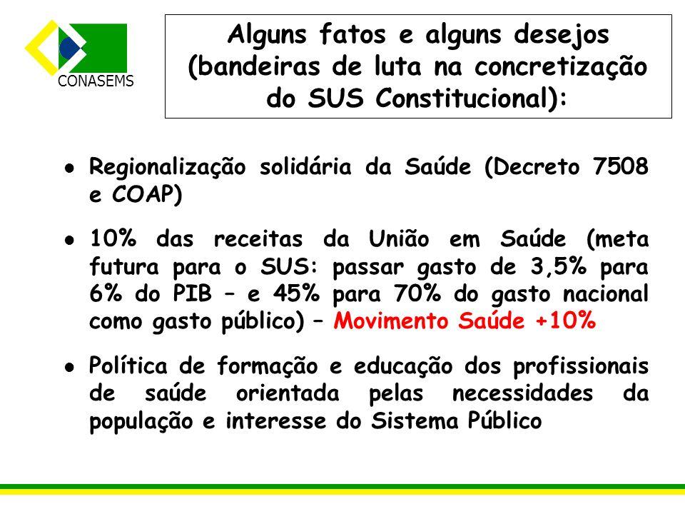 Alguns fatos e alguns desejos (bandeiras de luta na concretização do SUS Constitucional):