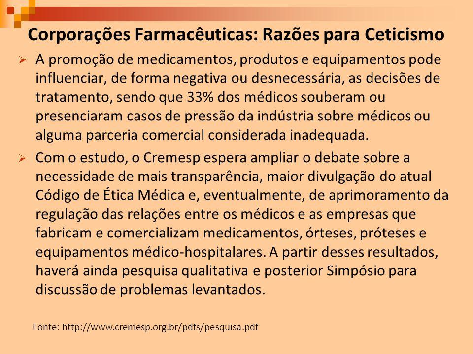 Corporações Farmacêuticas: Razões para Ceticismo