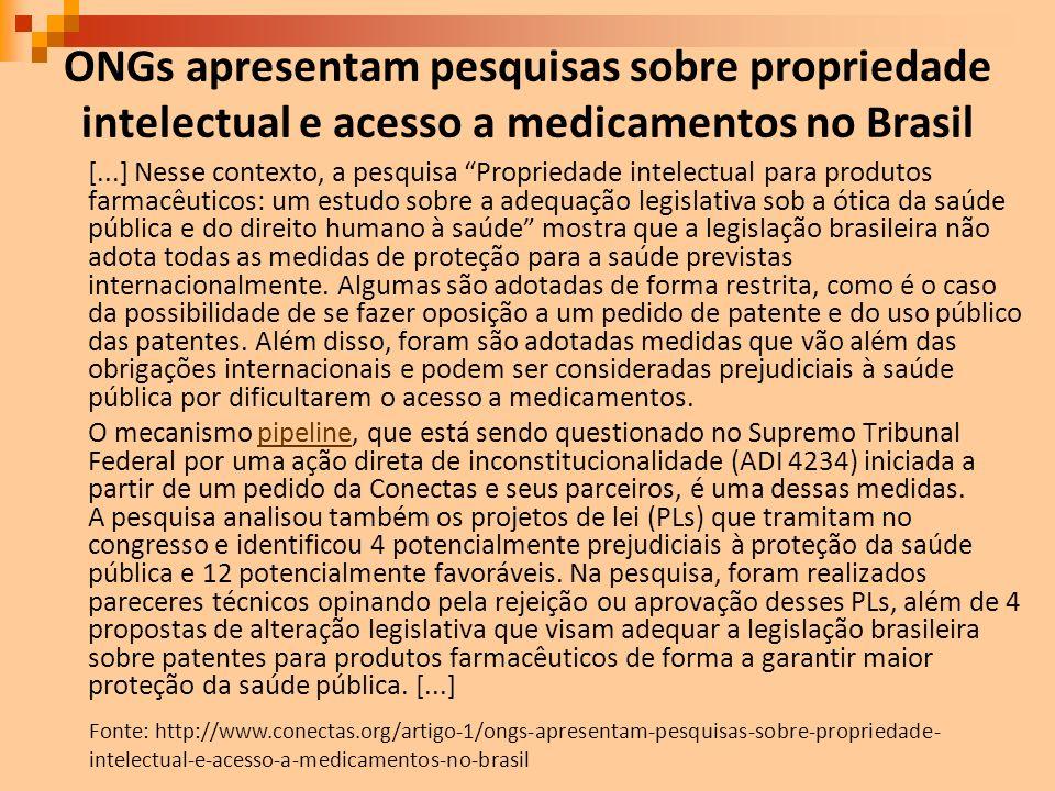 ONGs apresentam pesquisas sobre propriedade intelectual e acesso a medicamentos no Brasil