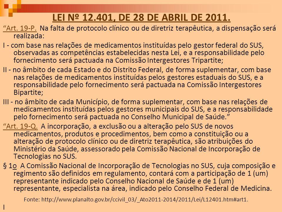 LEI Nº 12.401, DE 28 DE ABRIL DE 2011. Art. 19-P. Na falta de protocolo clínico ou de diretriz terapêutica, a dispensação será realizada: