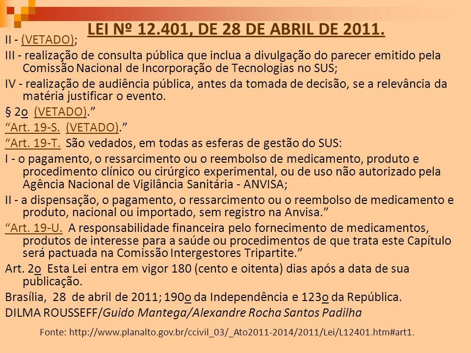 LEI Nº 12.401, DE 28 DE ABRIL DE 2011. II - (VETADO);