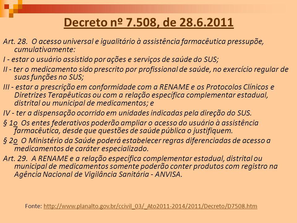 Decreto nº 7.508, de 28.6.2011 Art. 28. O acesso universal e igualitário à assistência farmacêutica pressupõe, cumulativamente: