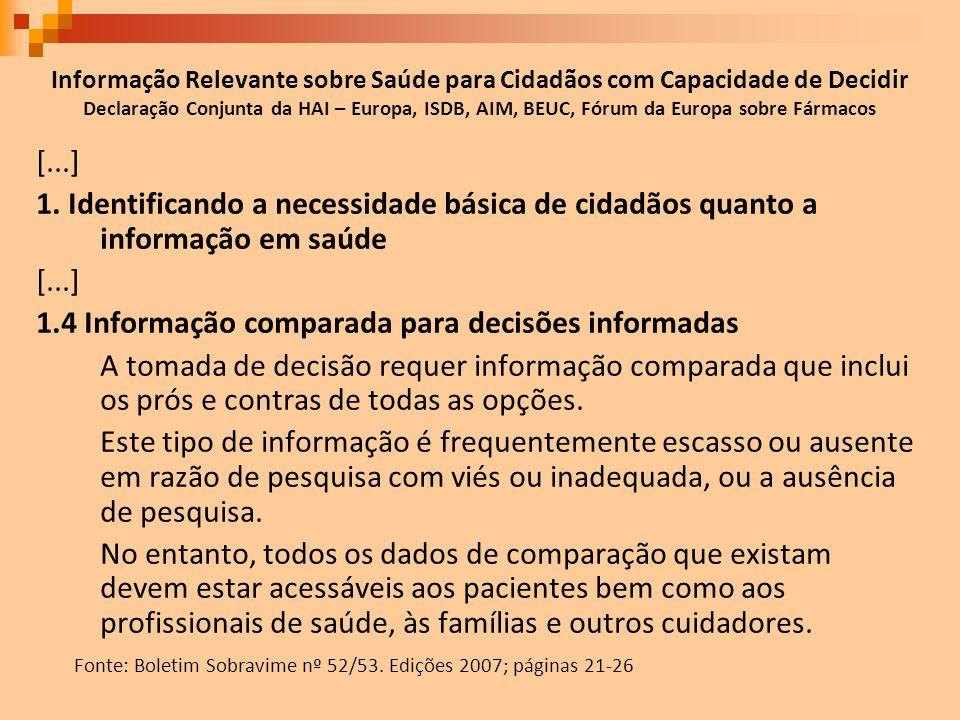 1.4 Informação comparada para decisões informadas