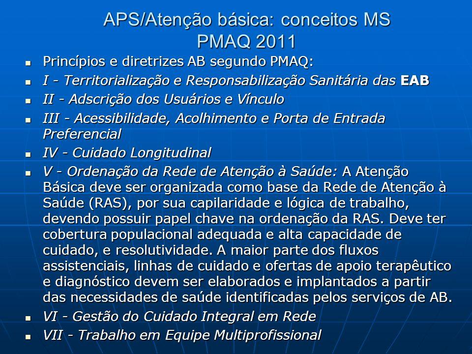 APS/Atenção básica: conceitos MS PMAQ 2011