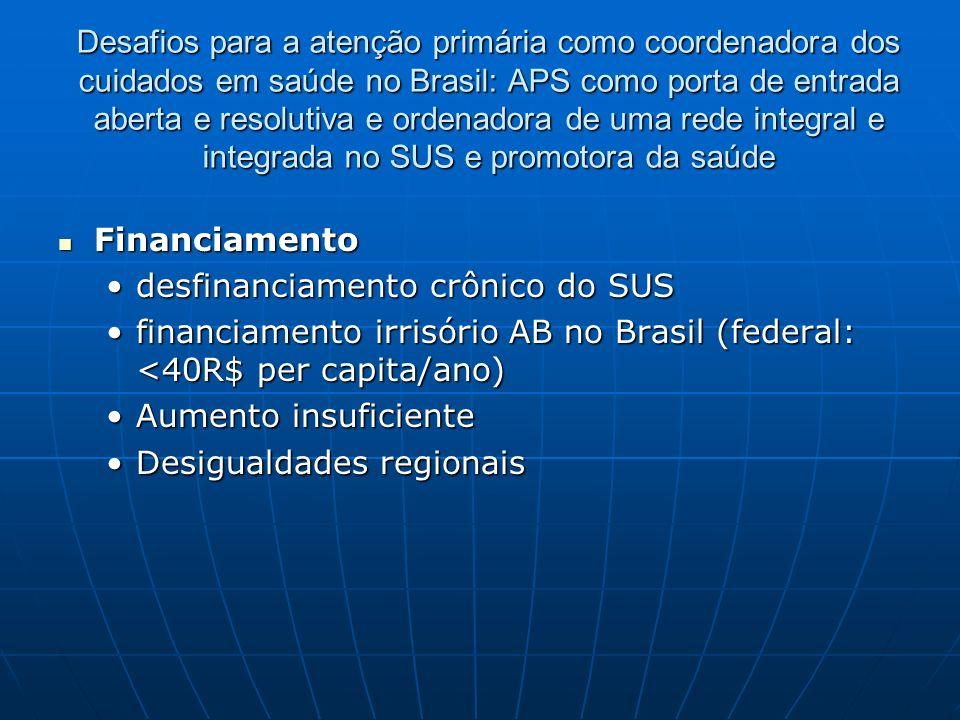 Desafios para a atenção primária como coordenadora dos cuidados em saúde no Brasil: APS como porta de entrada aberta e resolutiva e ordenadora de uma rede integral e integrada no SUS e promotora da saúde