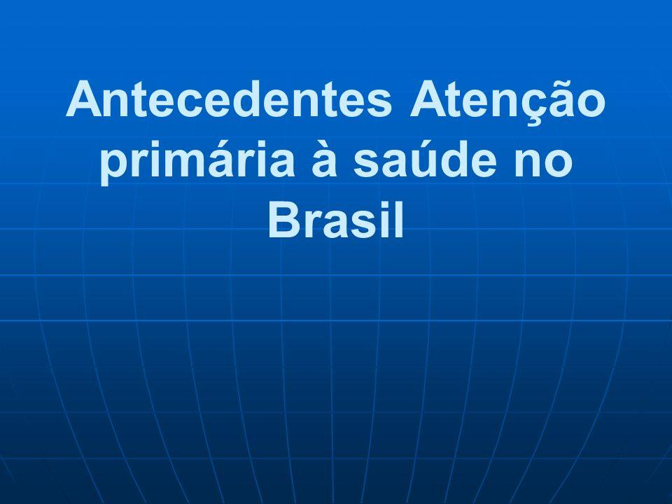 Antecedentes Atenção primária à saúde no Brasil
