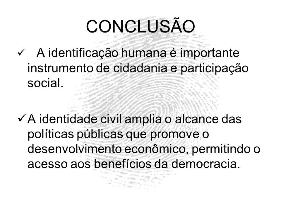 CONCLUSÃO A identificação humana é importante instrumento de cidadania e participação social.