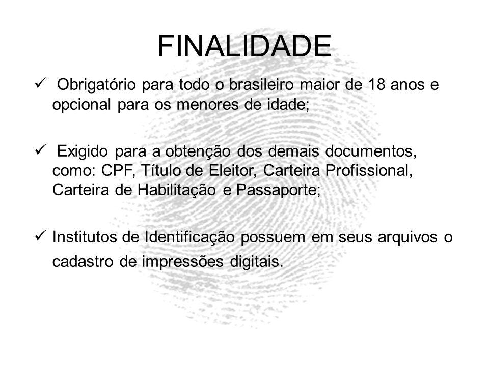 FINALIDADE Obrigatório para todo o brasileiro maior de 18 anos e opcional para os menores de idade;