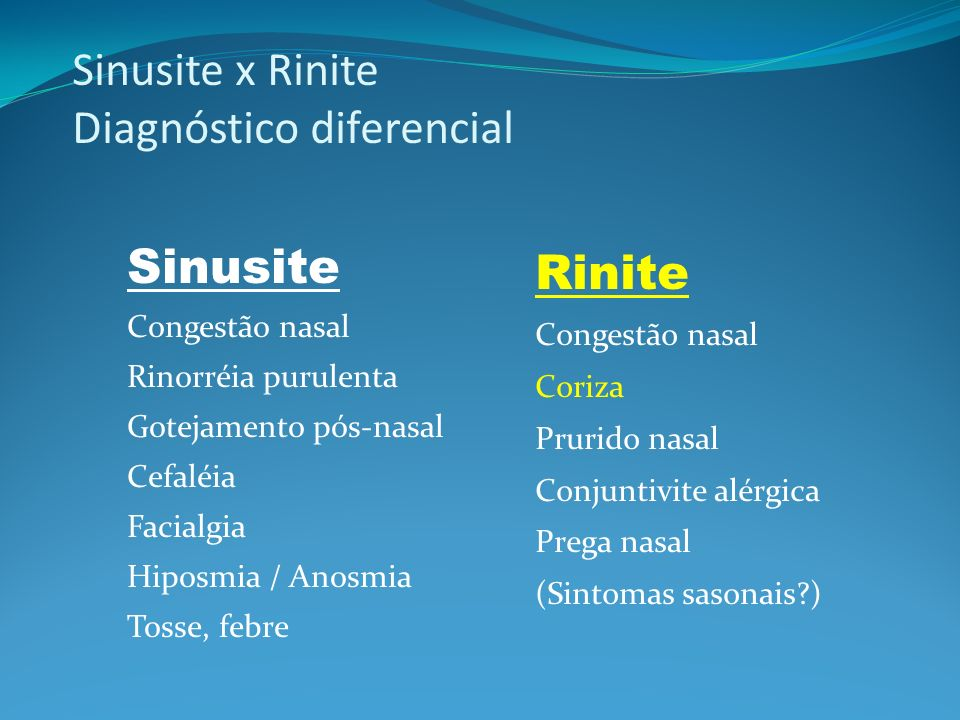 Sinusite x Rinite Diagnóstico diferencial