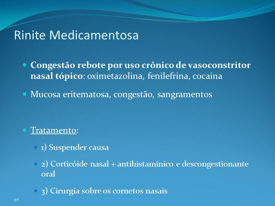 Rinite Medicamentosa Congestão rebote por uso crônico de vasoconstritor nasal tópico: oximetazolina, fenilefrina, cocaina.