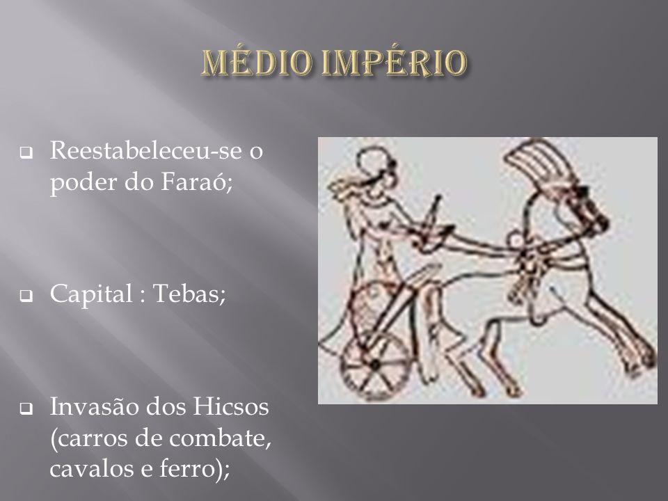 Médio Império Reestabeleceu-se o poder do Faraó; Capital : Tebas;
