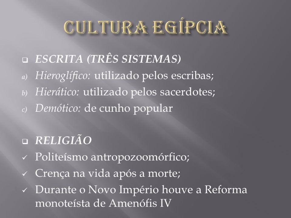 CULTURA EGÍPCIA ESCRITA (TRÊS SISTEMAS)