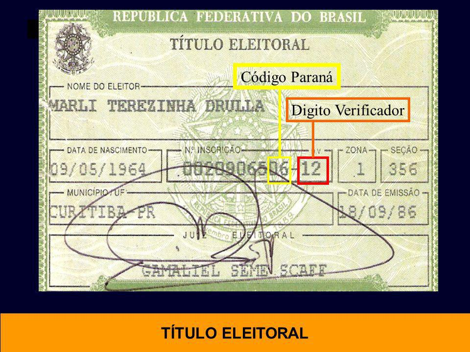 Código Paraná Digito Verificador TÍTULO ELEITORAL OTIMAL