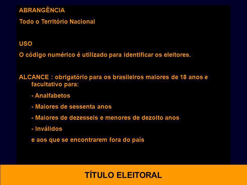 OTIMAL TÍTULO ELEITORAL ABRANGÊNCIA Todo o Território Nacional USO