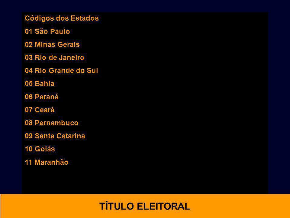 OTIMAL TÍTULO ELEITORAL Códigos dos Estados 01 São Paulo