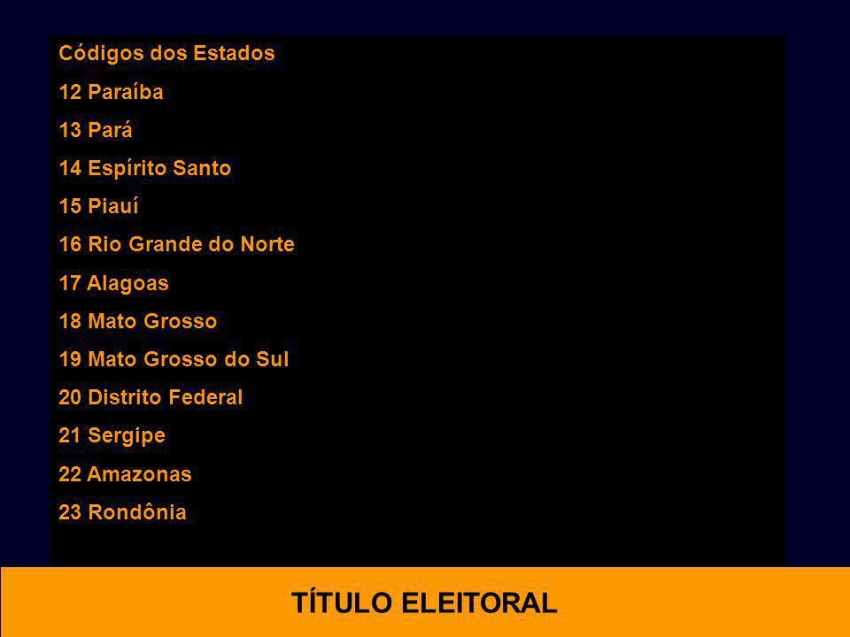 OTIMAL TÍTULO ELEITORAL Códigos dos Estados 12 Paraíba 13 Pará
