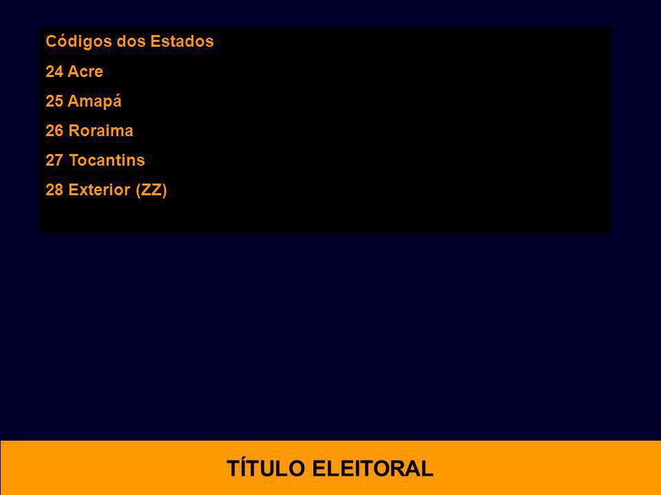 OTIMAL TÍTULO ELEITORAL Códigos dos Estados 24 Acre 25 Amapá