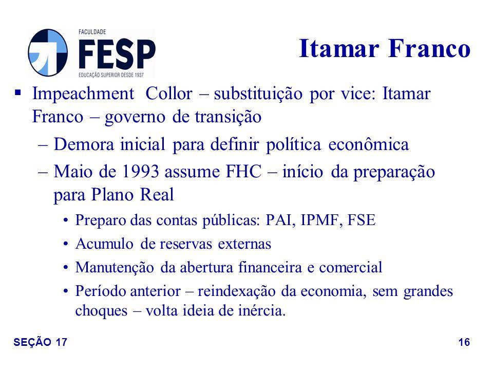 Itamar Franco Impeachment Collor – substituição por vice: Itamar Franco – governo de transição. Demora inicial para definir política econômica.