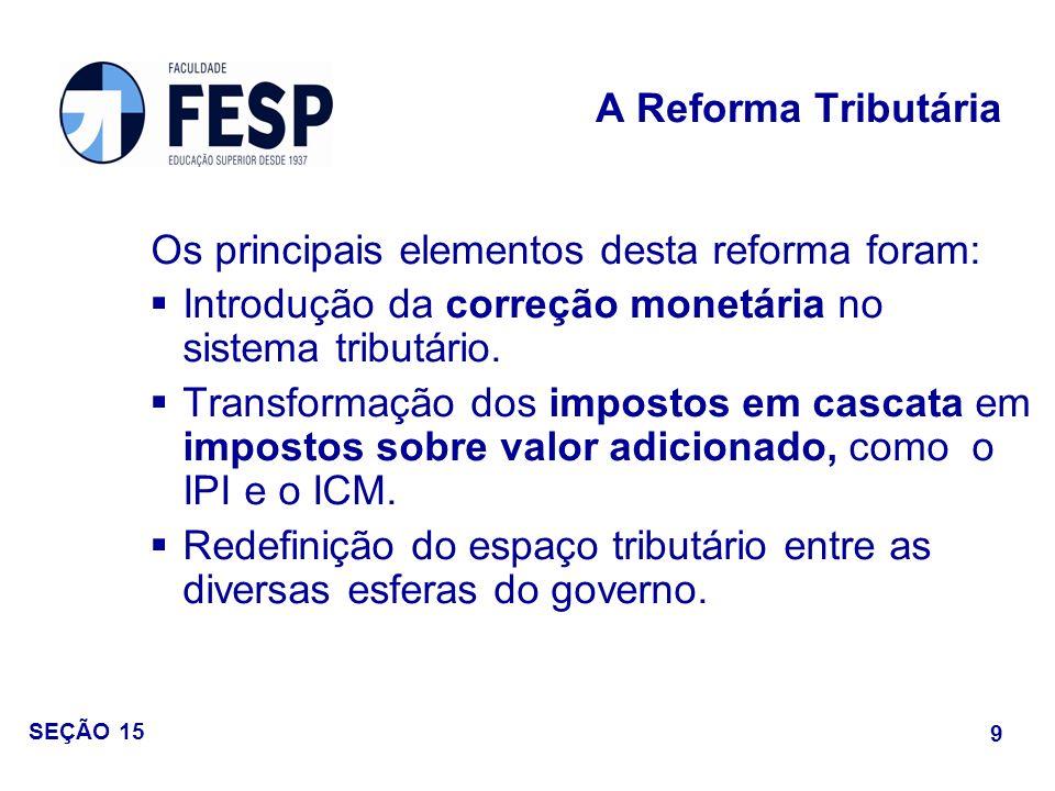 Os principais elementos desta reforma foram: