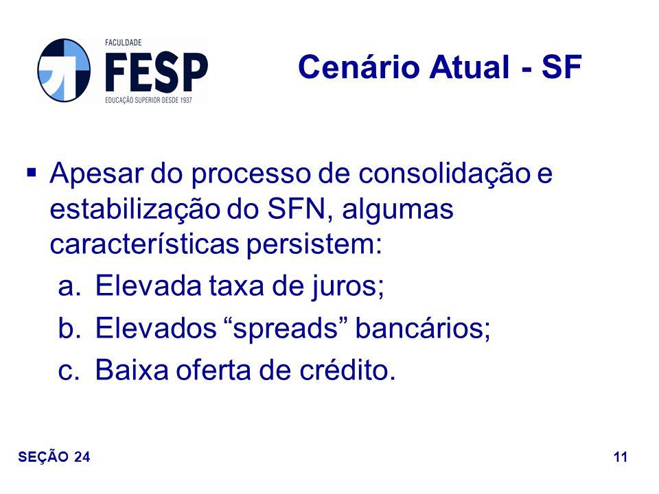 Cenário Atual - SF Apesar do processo de consolidação e estabilização do SFN, algumas características persistem: