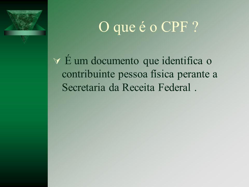 O que é o CPF É um documento que identifica o contribuinte pessoa física perante a Secretaria da Receita Federal .