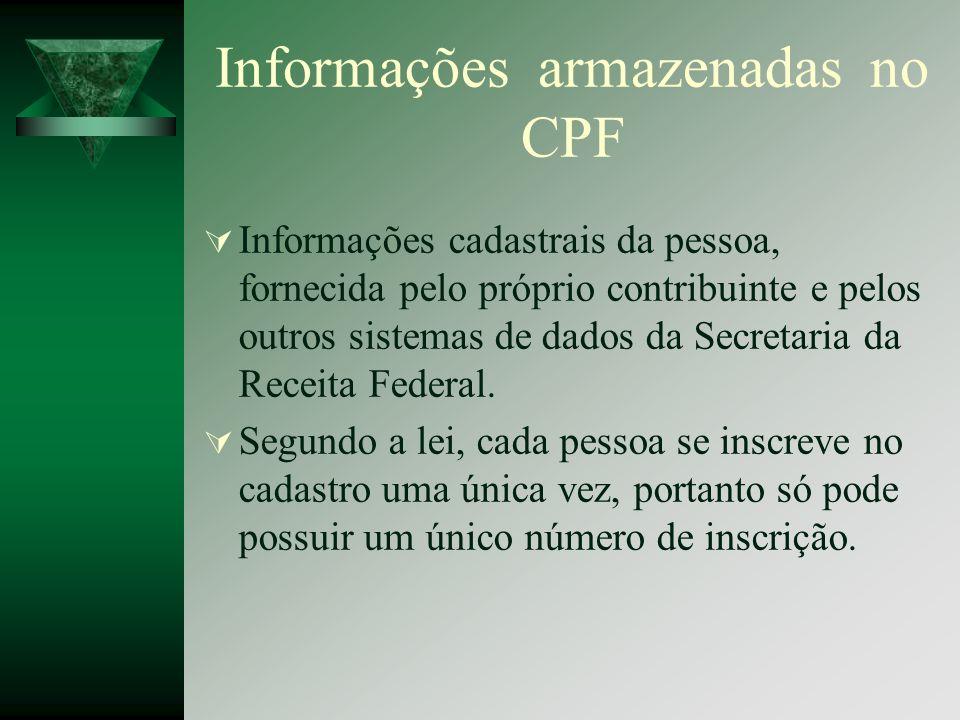 Informações armazenadas no CPF