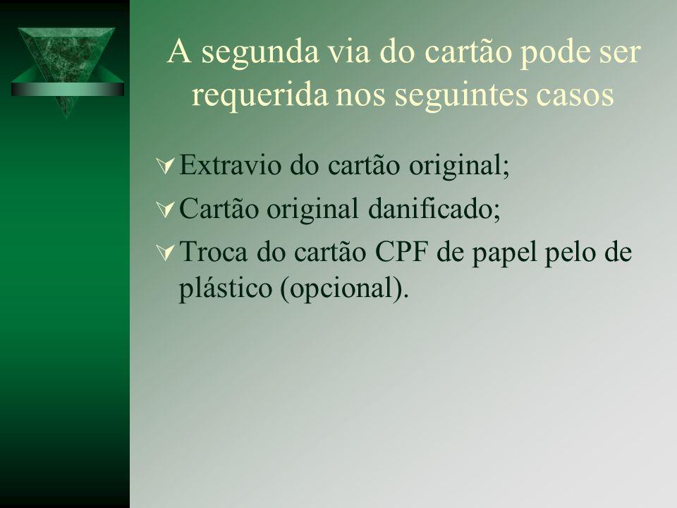 A segunda via do cartão pode ser requerida nos seguintes casos