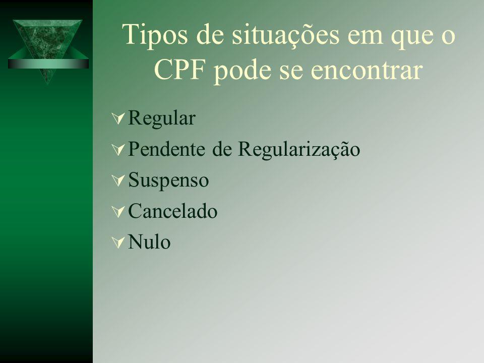 Tipos de situações em que o CPF pode se encontrar