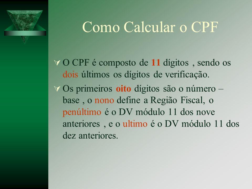 Como Calcular o CPF O CPF é composto de 11 dígitos , sendo os dois últimos os dígitos de verificação.