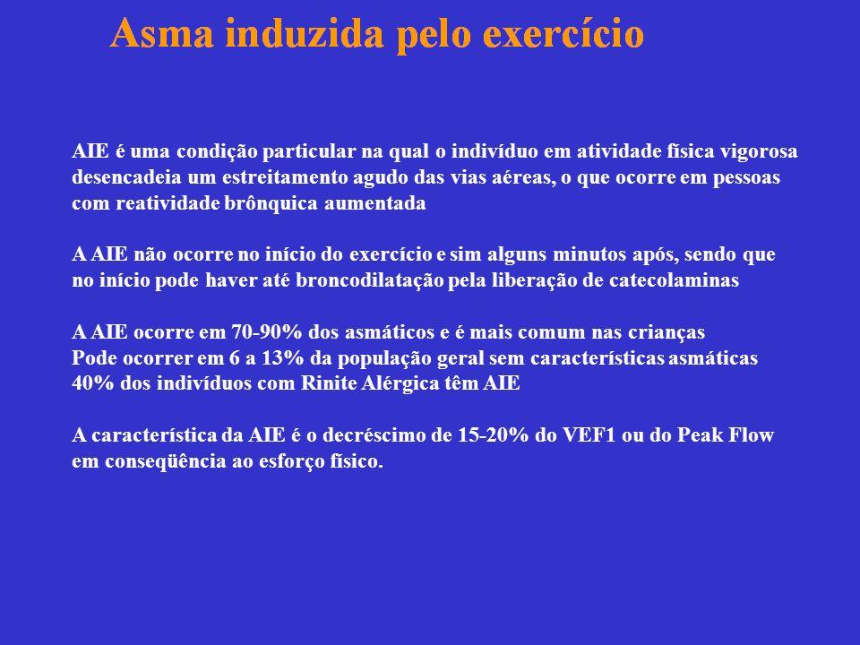 AIE é uma condição particular na qual o indivíduo em atividade física vigorosa desencadeia um estreitamento agudo das vias aéreas, o que ocorre em pessoas com reatividade brônquica aumentada