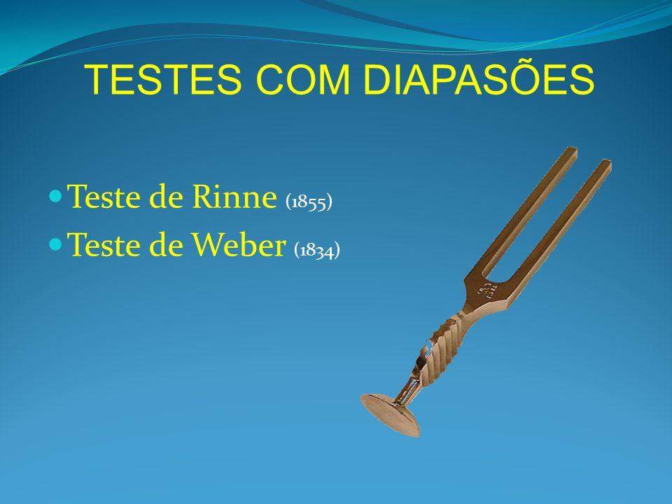TESTES COM DIAPASÕES Teste de Rinne (1855) Teste de Weber (1834)
