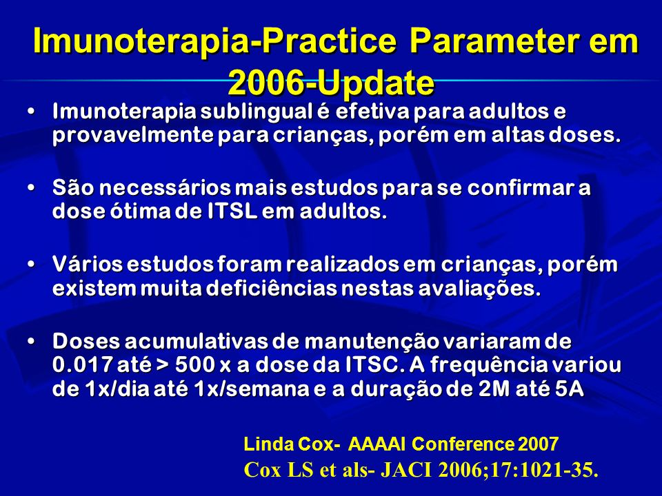 Imunoterapia-Practice Parameter em 2006-Update