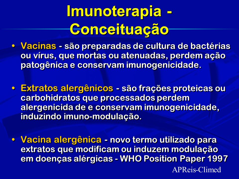 Imunoterapia - Conceituação