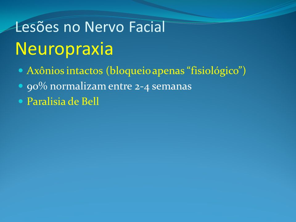 Lesões no Nervo Facial Neuropraxia
