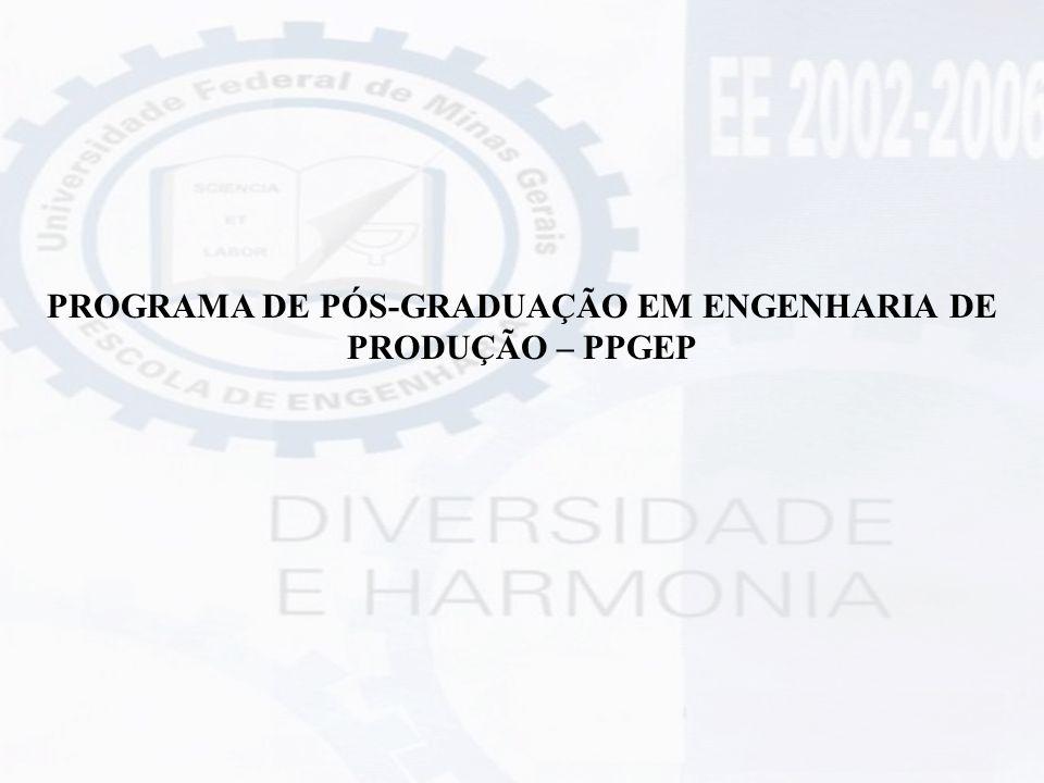 PROGRAMA DE PÓS-GRADUAÇÃO EM ENGENHARIA DE PRODUÇÃO – PPGEP