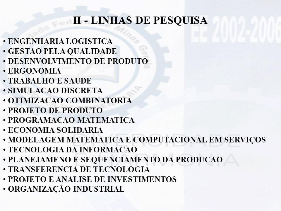 II - LINHAS DE PESQUISA ENGENHARIA LOGISTICA GESTAO PELA QUALIDADE