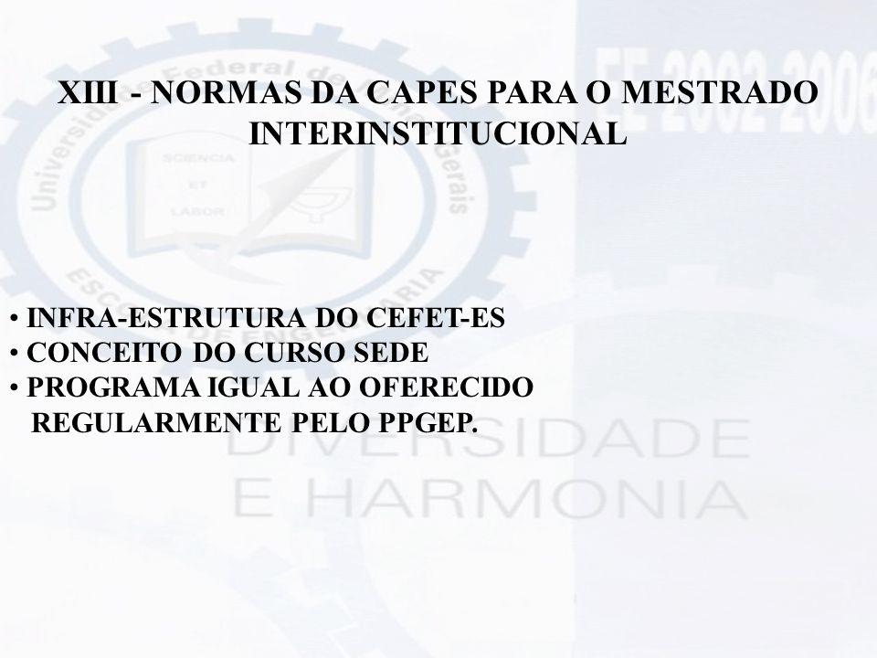 XIII - NORMAS DA CAPES PARA O MESTRADO INTERINSTITUCIONAL